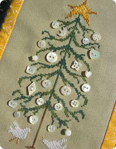 Christmas cross-stitch button tree