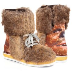 Protect your feet from the fearsome winter weather with our trusty Chewbacca boots. Brown faux fur, silver laces and chunky rubber soles with digital Chewbacca prints across the counter ensure that this formidable pair are a worthy tribute to Han Solo's l Furry Boots, Faux Fur Boots, Brown Boots, Chewbacca, Star Wars Collection, Shoe Collection, Star Wars Shoes, Irregular Choice Shoes, Totes