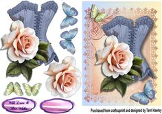 This A5 decoupage 3D card front can really be sent to a man or a woman, with its pretty blue corset and beautiful rose and butterflies, and it is so easy to make and can be used for so many many reasons.  There are 2 labels provided, a blank for your own words, the With Love and Best Wishes. But of course you can also use your own label. When finished with fit any A5 envelope. enjoy.