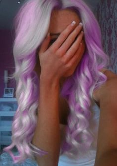 Curly Light Purple & White Hair✶ #Hairstyle #Colorful_Hair #Dyed_Hair