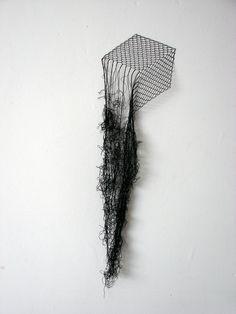 Elodie Antoine - Cube. Black lace thread and pins (2012) © photo courtesy of Elodie Antoine