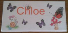 Cute butterfly door plaque, personalised with your child's name. Handmade by Conscious Crafty living with neuralgia and bulging discs Bedroom Door Signs, Bedroom Doors, Door Plaques, Name Plaques, Personalized Plaques, Cute Butterfly, Childrens Gifts, Kid Names, Kids Bedroom