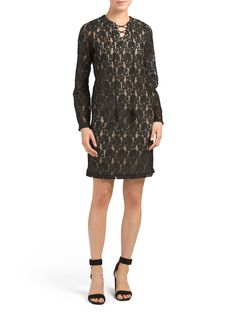 Bell Sleeve Lace Up Placket Dress