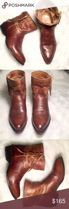9 Frye Women's Billy Cross Stitch Shortie Booties Gorgeous 2 tone ankle boots in EUC! Gently worn as shown. Very comfortable and tts! Leather boots and laces. Look great with jeans, leggings, AND dresses! Frye Shoes Ankle Boots & Booties