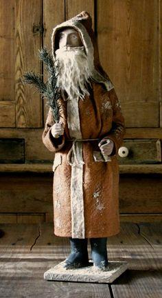 Rustic Folk Art Miniature Santa UNIQUE Wooden Handcraft Pick a color