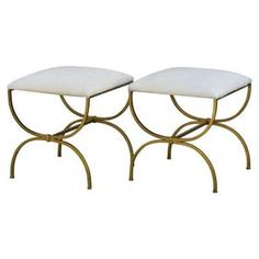 Pair Of Strapontin Gilt Iron And Hide Stools MidCentury Modern, Transitional, Organic, Art Deco, Upholstery Fabric, Metal, Natural Material, Stools, Ottomans Pouf by Design Frres