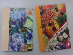 Itsetehtyjä vihkoja. Kansia varten tehtiin kollaasi lehdestä leikatuista kuvista, kollaasi kopioitiin ja siitä taiteltiin kannet.