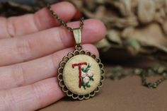 Embroidered Initial Necklace.Initial Rose by GiftOfFelt on Etsy