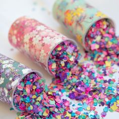 Make these adorable confetti poppers for your next celebration. Cover with pretty paper, fill with confetti or flower petals, pop, enjoy!
