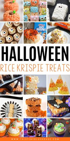 The best collection of Halloween Rice Krispie Treats! Perfect for the kids at school, pot-luck or other Halloween themed get-together. These 20 spooktacular treats are a great way to celebrate Halloween. Halloween Treats To Make, Halloween Baking, Spooky Treats, Halloween Desserts, Halloween Cakes, Halloween Party, Halloween Ideas, Halloween Foods, Halloween House