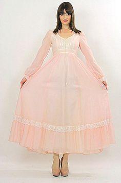 Vintage 70s Boho Hippie Gunne Sax corset maxi dress