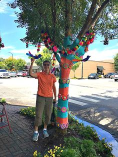 Project Coordinator: Gaye Lindsey - Art on a Limb: Fairhope, Alabama has been yarn bombed! Blog: Leslie Anne Tarabella #yarnbombing #knit #crochet #fiberart
