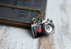 CAMERA Necklace Black  Retro Camera  Pink by redtruckdesigns