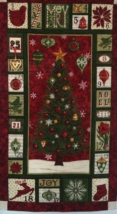Calendario de adviento árbol de Navidad rojo y verde. Diciembre, 2015