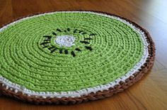 Crochet kiwi rug! Looooove this! There are crochet kiwi coasters as well...