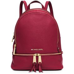 MICHAEL Michael Kors Rhea Small Leather Zip Backpack ($315) ❤ liked on Polyvore featuring bags, backpacks, cherry, strap backpack, leather knapsack, zipper backpack, red backpack and leather zipper backpack