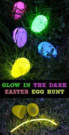 glow in the dark easter hunt | DIY Easter Egg Decorating Ideas for Kids