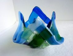 Glass Votive Candle Holder in Blues and Greens by Gabby's Quilts