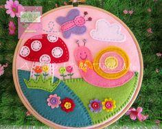 Felt Embroidery Hoop butterfly snail mushroom cloud for a little girl