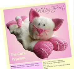 KNITTING PATTERN The Cat's Pyjamas. Pyjama Case Cat Soft Toy Nightie Case Chunky | eBay