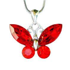 Swarovski Crystal Hot Red BUTTERFLY Bridal Wedding by Kashuen, $36.00