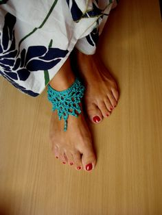 Crochet anklet - Barefoot sandals, summer crochet - Made to order. $11.00, via Etsy.