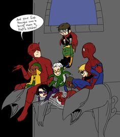 Doreen couldn't babysit for some reason so Peter had to fill in. Daredevil, Spiderman, and Young Avengers (c) Marvel Avengers Fan Art, Avengers Imagines, Avengers Cast, Young Avengers, Avengers Memes, Marvel Memes, Superhero Memes, Marvel E Dc, Marvel Funny