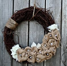 Love this Rustic Wreath Dream with Ivory & Jute