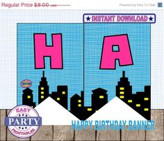 Instant Download Superhero Birthday Banner Printable Girl Party Pink And Aqua Supergirl Happy