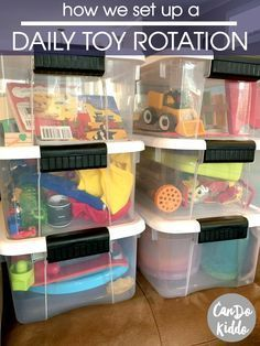 Tips for setting up a daily toy rotation PLUS why I'm finding it easier than a weekly or monthly rotation. Perfect for toddler toys with a new baby at home! Pinned by freebies-for-baby.com