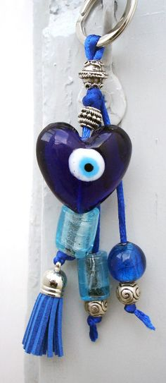 Good Luck Heart Greek lucky blue eye keychain by CarolinaHydra Hamsa, Greek Evil Eye, Lucky Blue, Evil Eye Jewelry, Evil Eye Charm, Turkish Jewelry, Bijoux Diy, Good Luck, Pink Eyes