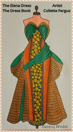 Elena Dress Dress Book www.esty.com/shop/ColletteByCollette Free Coloring, Colouring, Adult Coloring, Coloring Books, Vintage Clothing, Vintage Outfits, Esty, Christmas Ornaments, Holiday Decor