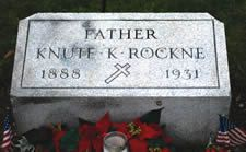 Knute Rockne's Grave Site - Highland Cemetery South Bend, Indiana