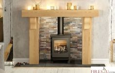 This broad and bold Be Modern Elicott surround only which comes in Solid Natural Oak has all the appearance of having been central to farmhouse life for generations.  There's a reassuring sense of permanence about the sturdy top shelf supported by stout, curving corbels.  It's the ideal surround for high output gas or electric stoves