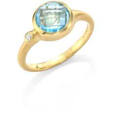 Carelle Blue Topaz & Diamond Stack Ring ($920) ❤ liked on Polyvore featuring jewelry, rings, diamond jewelry, stackable rings, 18k ring, fine jewelry and stackable diamond rings