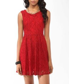 Cute Red Lace Dress