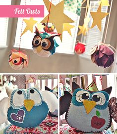 """Night Owl"" birthday slumber party with felt owl pillows as favors"