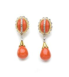 Pair of Gold, Fluted Coral, Coral, and Diamond Pendant-Earclips  14 kt., 2 oval cabochon coral ap. 14.6 x 9.0 mm., 2 drop-shaped coral ap. 14.0 x 12.4 mm., 58 diamonds ap. 1.45 cts., pendants detachable.