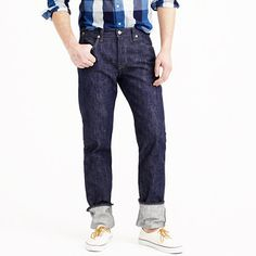 """In the spirit of classic jeans, our designers constructed this style in America using completely raw Japanese denim that, when washed, shrinks to your size. Sizing is difficult, so pay attention: All pairs have a 37"""" inseam (which is why cuffs were so common in the 1950s). If you DO NOT plan on washing your jeans, select your true waist size. If you DO plan on washing them and are between a 28"""" and a 33"""", then size up 2"""" (i.e., if you are a 28"""", order a 30"""") and if you are a 34"""" to a 36""""…"""