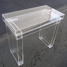 "Lucite Desk / Cosmetic table - Fully clear ""Ghost"" table with hinge top for internal storage.. $550.00, via Etsy."