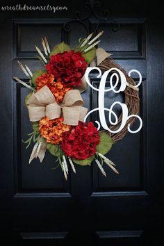 Fall Monogram Grapevine Wreath with Natural Burlap. Fall
