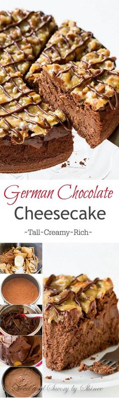 This rich and creamy german chocolate cheesecake will bring any chocolate lover to their knees. I'll show you how to make this decadent dessert with lots of step-by-step photos. (How To Bake Cheesecake) Brownie Desserts, Mini Desserts, Chocolate Desserts, No Bake Desserts, Just Desserts, Delicious Desserts, Dessert Recipes, Yummy Food, Chocolate Cake
