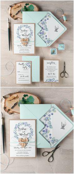 Watercolor mint rustic wedding invitations #weddingideas #wedding #mint #watercolor #floral #wreath #boho #bohemian #calligraphy #simple #romantic