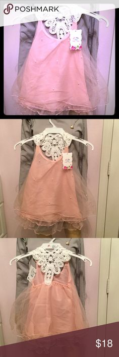Petal Pink Spring Holiday Dress little girl  Beautiful layered tulle ruffles with dainty pearl accents. Racerback in macrame white. Sized 24-36 month tang tang Dresses Formal