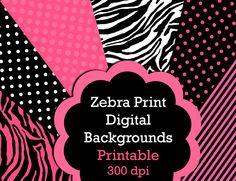 Zebra Print Digital Printable Backgrounds - 8.5 x 11, Digital Papers,