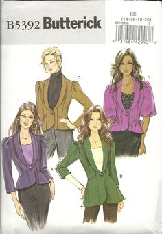 Butterick 5392 jackets in 4 variations, long and short sleeved. Easy. Sizes 14-20. Princess seams. 3 and 3/8 yds for 20. Lightweight velvet or wool, broadcloth or crepe. 2009. Bought in Butterick out-of-print patterns sale for $ 1.99.