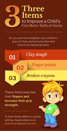 Three Items to Improve a Child's Fine Motor Skills at Home. Visit www.boulevardnursery.com for more info. #motorskills #child