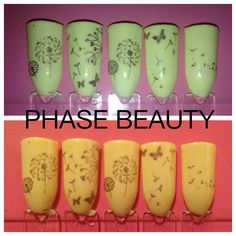 Shellac nail art design ideas, a soft cream pastel yellow with gold moyou London stamping