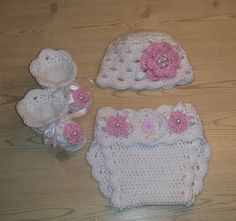 3 piece crochet baby girl set, baby girl  beanie, baby girl hat, diaper cover and matching booties. Made to order. via Etsy