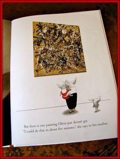 "Oliva meets Jackson Pollock art project to go along with the book ""Olivia"" by Ian Falconer."